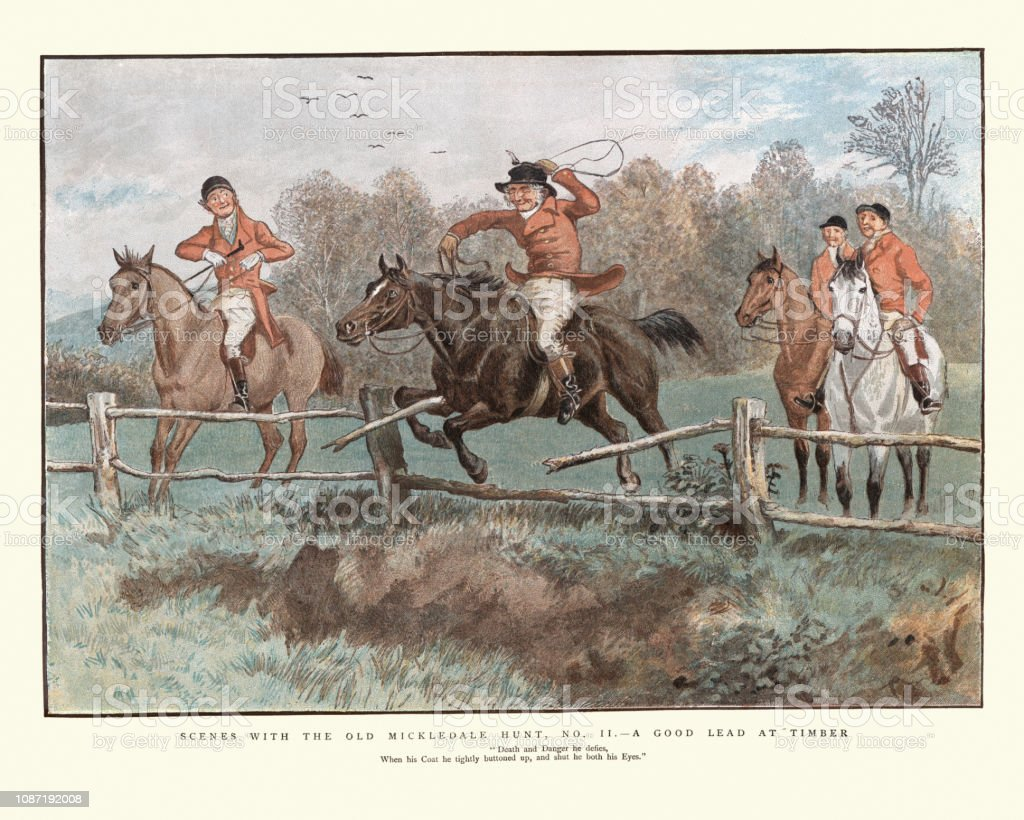 The Old Mickledale Hunt, Good lead at timber, 19th Century vector art illustration