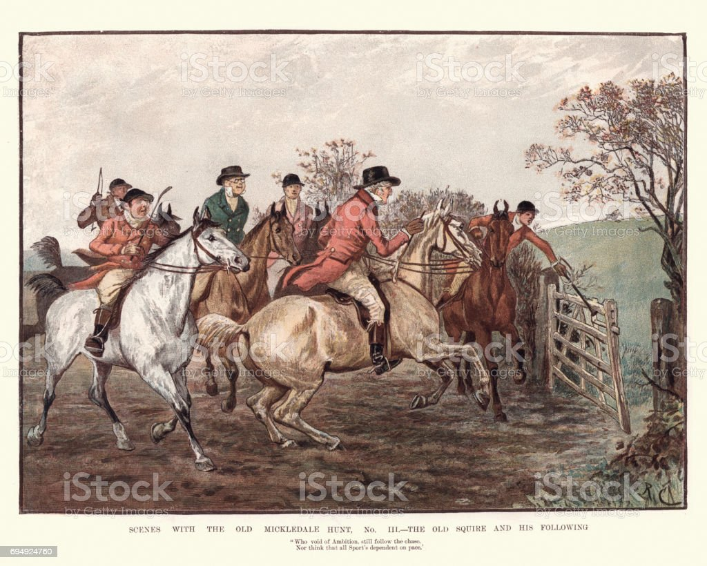 The Old Mickledale Hunt, The Old Aquire and his following Vintage engraving of Scenes with the Old Mickledale Hunt, The Old Aquire and his following. By Randolph Caldecott, 19th Century 1880-1889 stock illustration