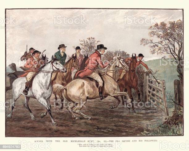 The Old Mickledale Hunt The Old Aquire And His Following Stock Illustration - Download Image Now