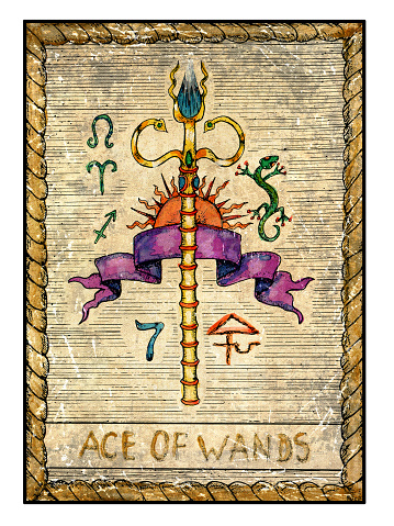 The Old Tarot card. Ace of Wands