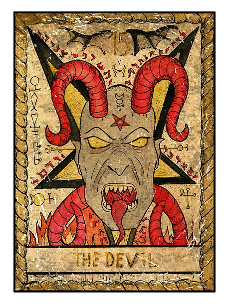 The Old Tarot card. The Devil vector art illustration
