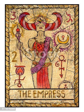The Old Tarot card. The Empress