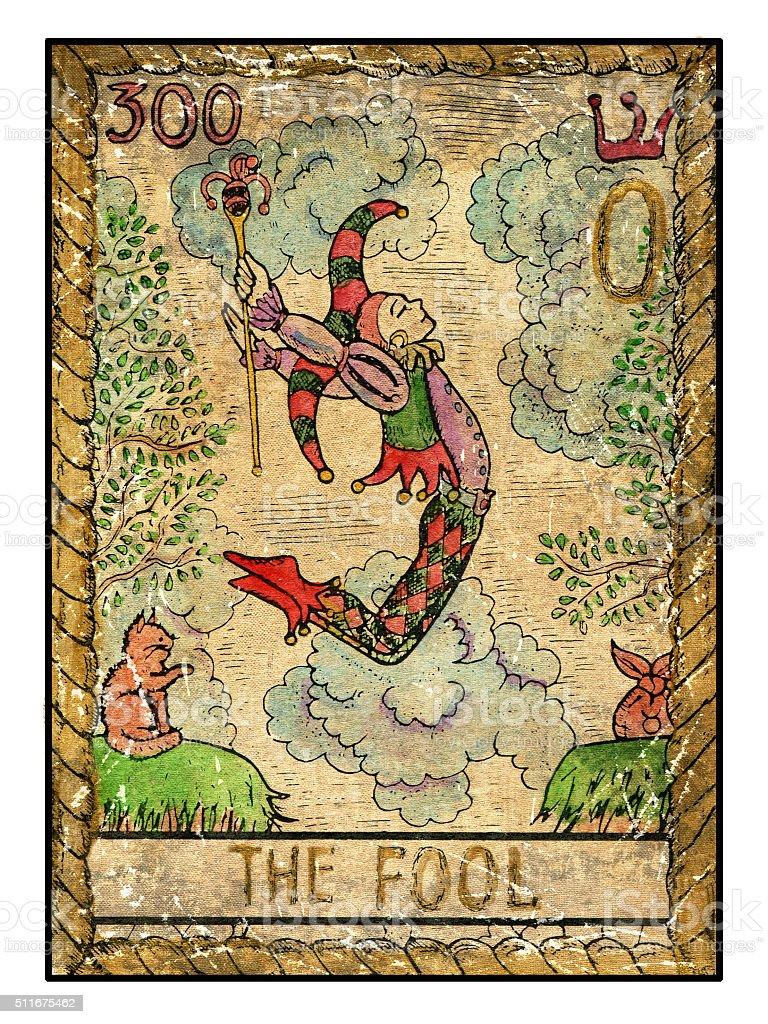 Le vieux Tarot carte. L'idiot - Illustration vectorielle