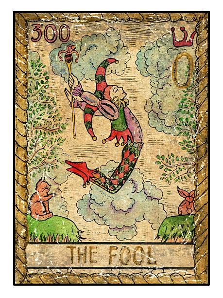 The old tarot card. The Fool vector art illustration