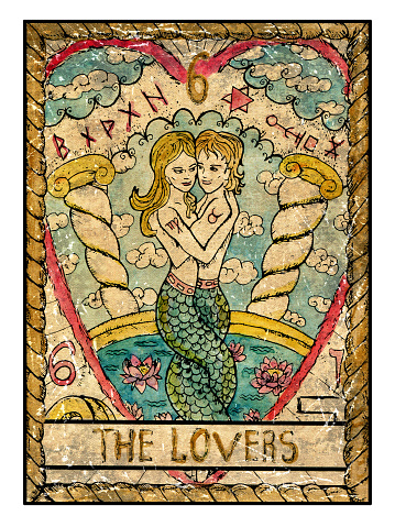 The Old Tarot card. The Lovers