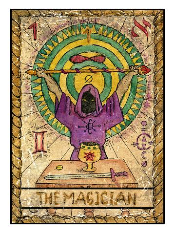 The Old tarot card. The magician