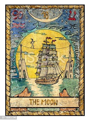 The Old Tarot card. The Moon