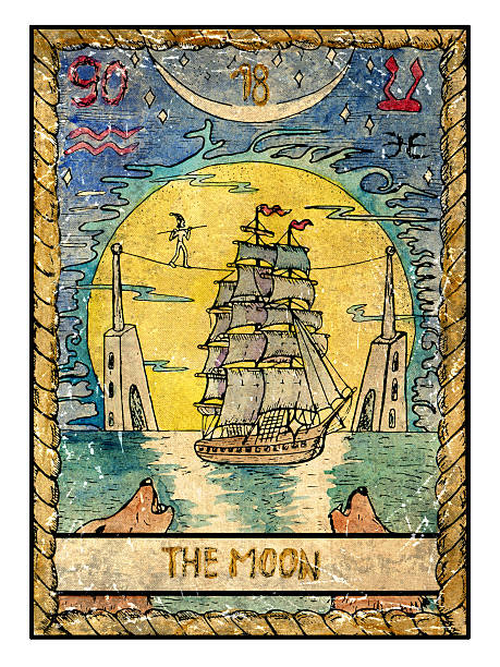 The Old Tarot card. The Moon vector art illustration