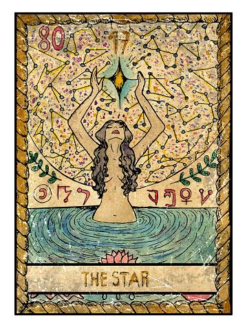 The Old Tarot card. The Star