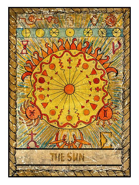 The Old Tarot card. The Sun vector art illustration
