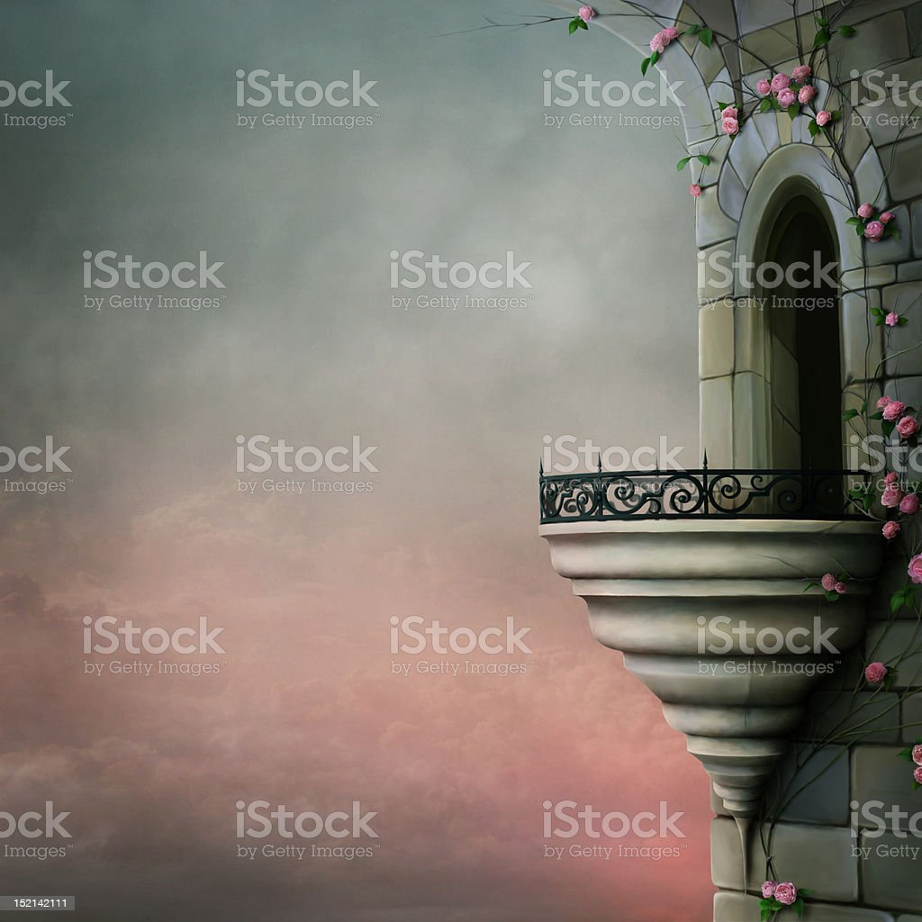 The old tower with a balcony and roses vector art illustration