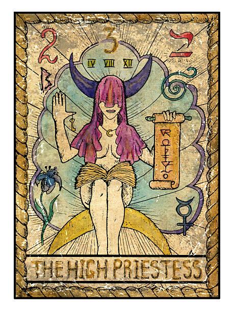 The olf tarot card. The High Priestess vector art illustration