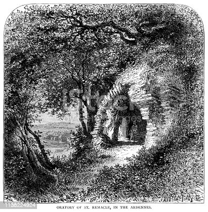 """A man sitting in the entrance to the Oratory of Saint Remacle, a cave in the Ardennes, then in France but now part of Belgium. From """"French Pictures: Drawn With Pen and Pencil"""" by the Rev. Samuel G. Green, D.D. Published by The Religious Tract Society, London, 1878."""