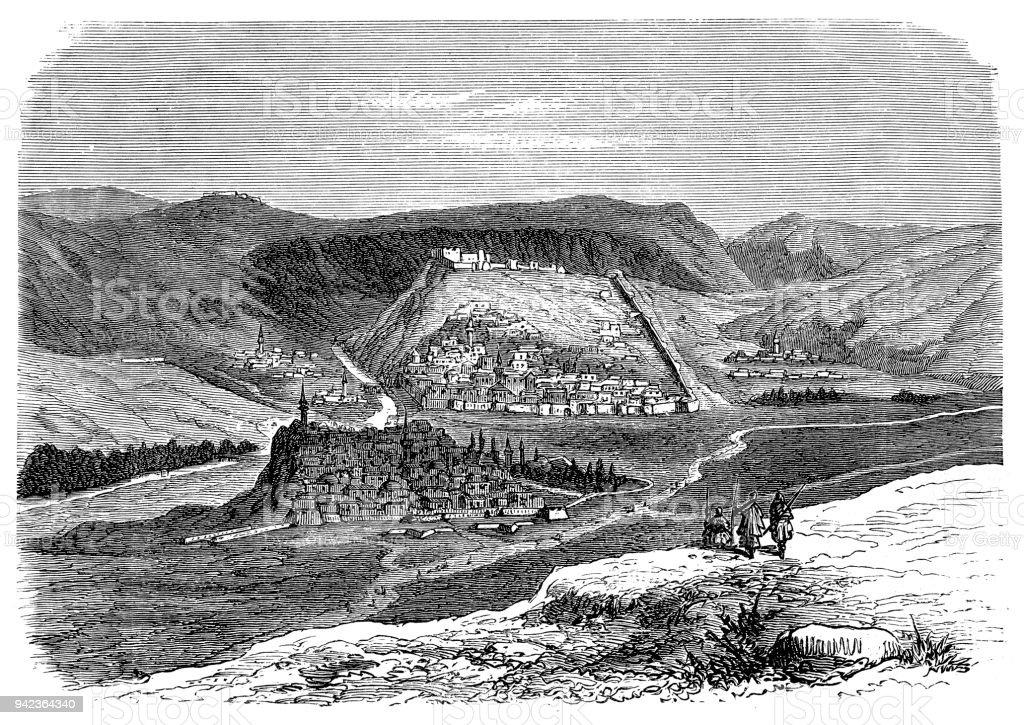 The Oriental War: City-Fortress of Kars vector art illustration