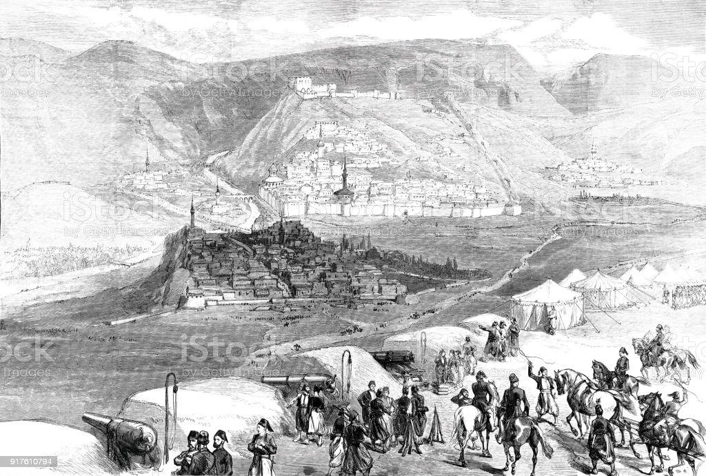 The Oriental War: Fortress Kars vector art illustration