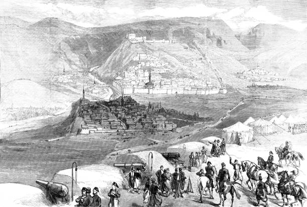 The Oriental War: Fortress Kars Illustration from 19th century anatolia stock illustrations