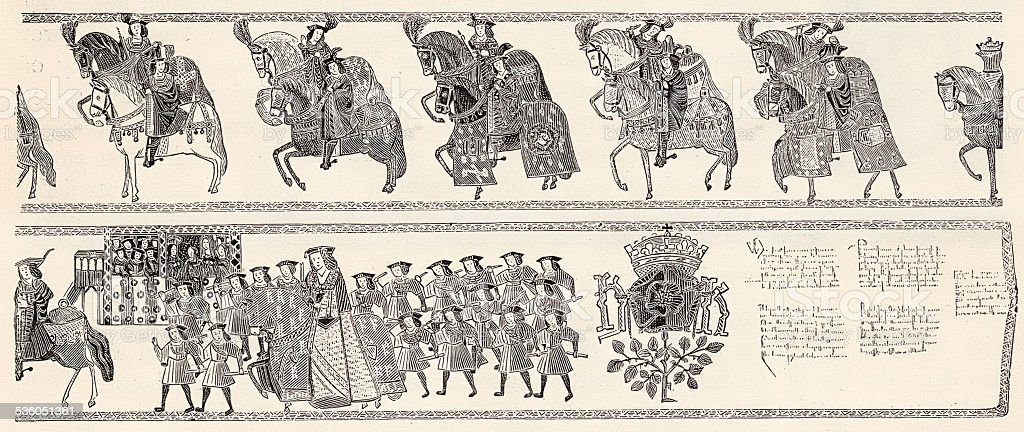 Mediaeval Westminster Tournament Roll College Of Arms 1894 vector art illustration