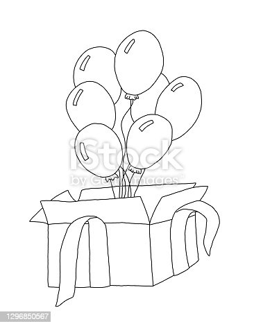 istock The outline of a gift box with five balloons 1296850567