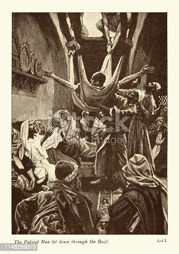 Vintage engraving of The Palsied man let down through the roof by James Tissot