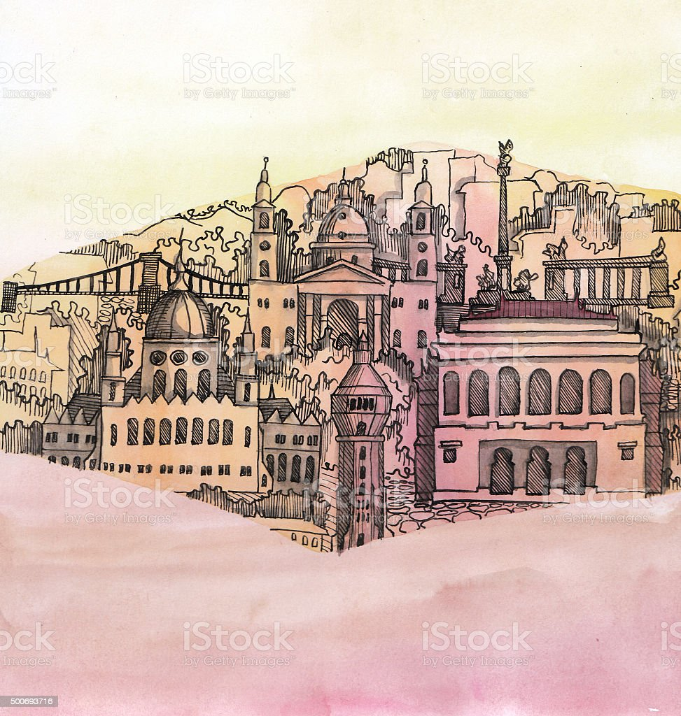 the panoramic view of Budapest city  hand drawn vector art illustration