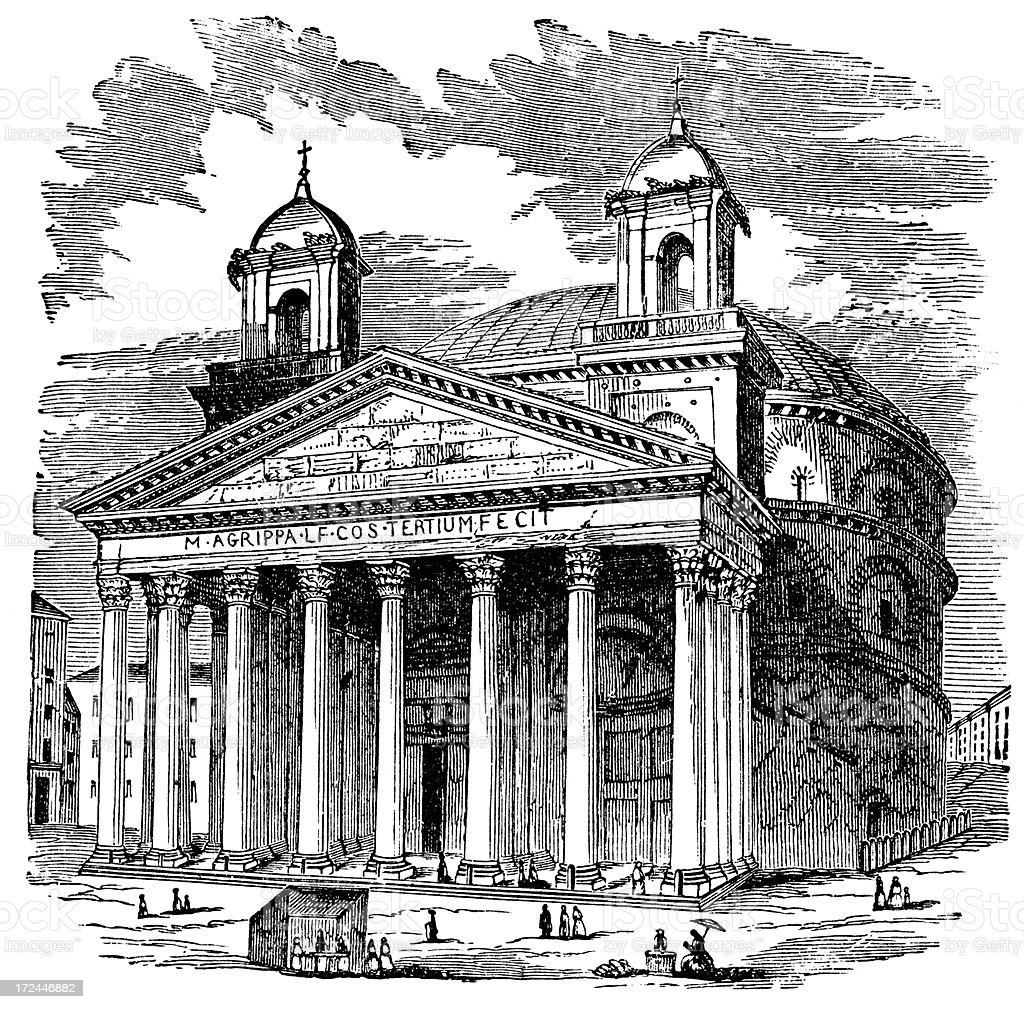 The Pantheon In Rome, Italy royalty-free the pantheon in rome italy stock vector art & more images of 19th century