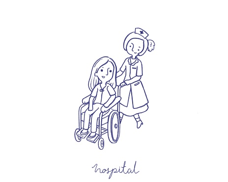 The patient is sitting on a wheelchair with nurse in the hospital