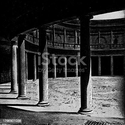 istock The Patio at the Palace of Charles V in Granada, Spain - 19th Century 1296901038