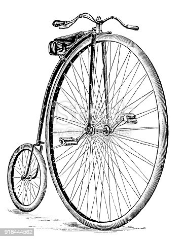 The penny-farthing, also known as a high wheel, high wheeler and ordinary