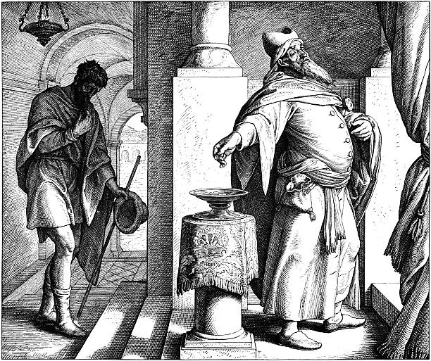 The Pharisee and Tax Collector Engraving by Julius Schnorr von Carolsfeld (March 26, 1794 - May 24, 1872) seven deadly sins stock illustrations
