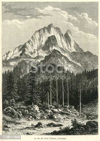 "The Pic du Midi d'Ossau, a mountain towering above the Ossau Valley in the French Pyrenees. From ""French Pictures: Drawn With Pen and Pencil"" by the Rev. Samuel G. Green, D.D. Published by The Religious Tract Society, London, 1878."