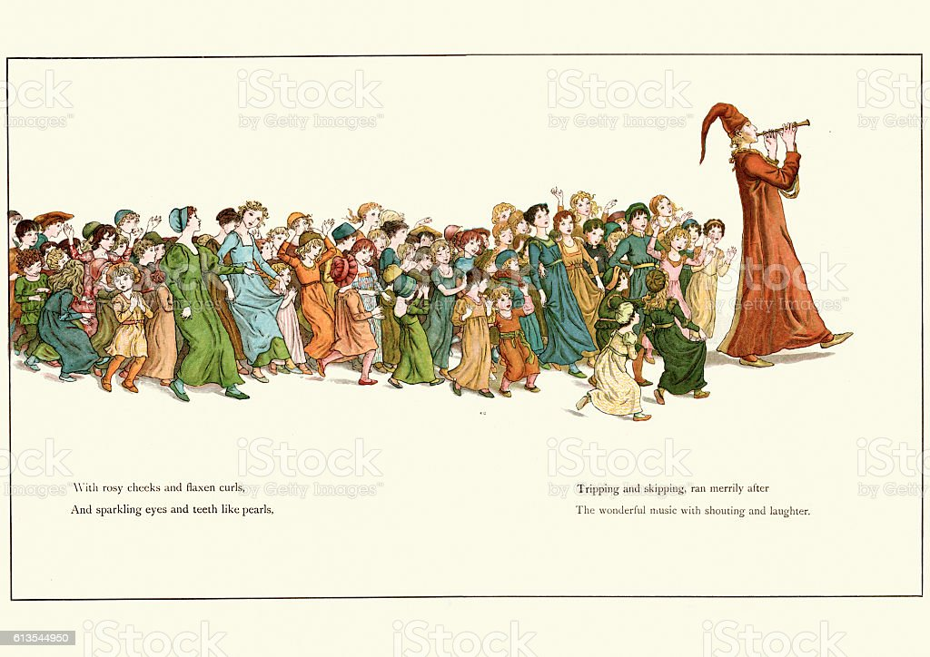 The Pied Piper leading the children away vector art illustration