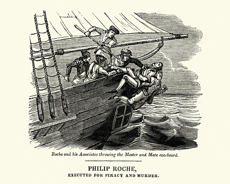 The pirate Philip Roche murdering the crew of a ship, throwing them overboard 18th Century