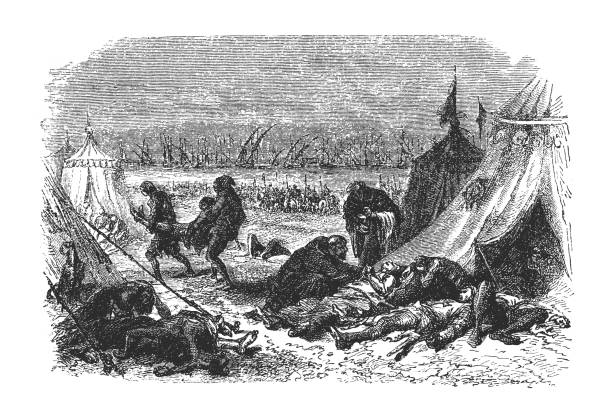 The plague in the camp of the French illustration of the plague in the camp of the French epidemic stock illustrations