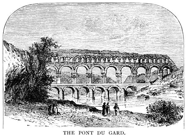 stockillustraties, clipart, cartoons en iconen met de pont du gard, een oud romeins aquaduct in zuid-frankrijk - pont du gard