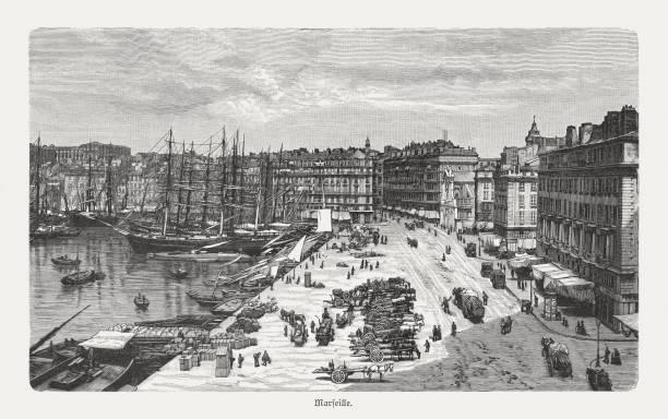 stockillustraties, clipart, cartoons en iconen met de haven van marseille, frankrijk, houtgravure, gepubliceerd in1897 - marseille