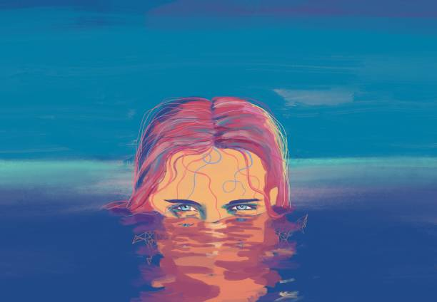 ilustraciones, imágenes clip art, dibujos animados e iconos de stock de el retrato de las mujeres nadadas - ojos azules