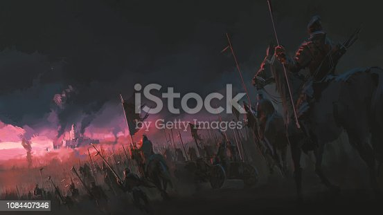 istock The pressure of the army, ancient war scenes, digital painting. 1084407346