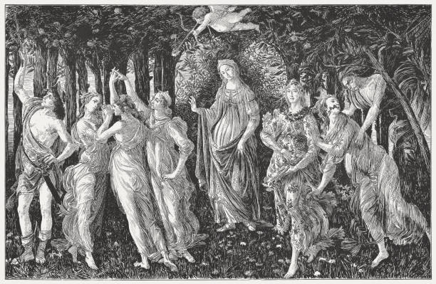 the primavera, painted by sandro botticelli, wood engraving, published 1884 - venus stock illustrations