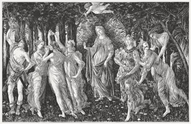 illustrations, cliparts, dessins animés et icônes de la primavera, peinte par sandro botticelli, gravure sur bois, publié de 1884 - venus