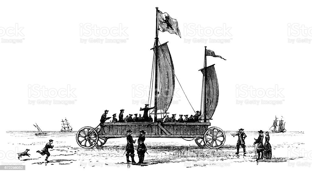 The Prince of Orange's 'flying carriage' at Scheveningen vector art illustration