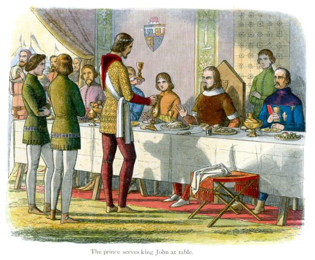 ilustrações de stock, clip art, desenhos animados e ícones de o príncipe serve king john na tabela - muita comida