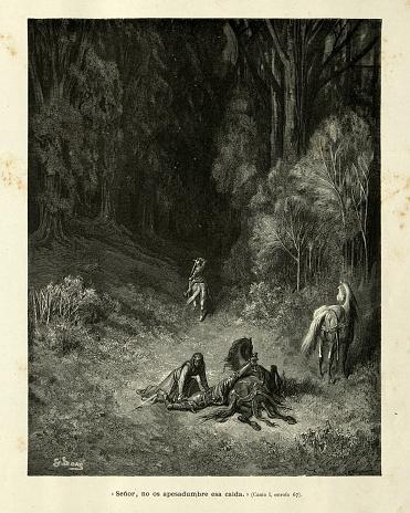 The princess helping the fallen knight. Orlando Furioso