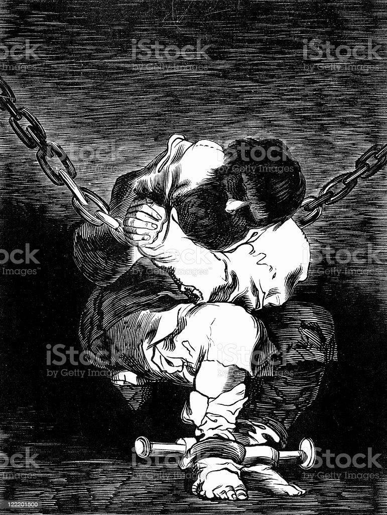 The Prisoner, do século XVIII, até Goya arte - ilustração de arte em vetor