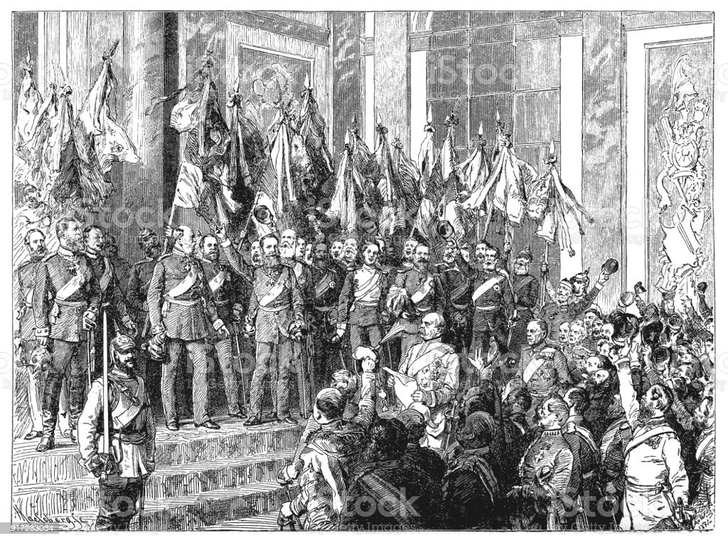 The Proclamation of the German Empire (18 January 1871) in the Hall of Mirrors of Versailles Palace, France vector art illustration