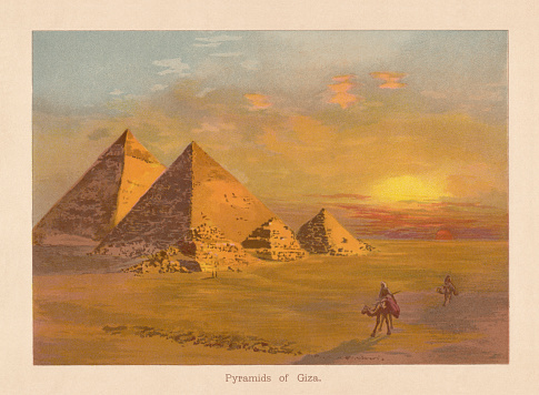 The Pyramids of Giza in Egypt. Chromolithograph after a watercolor by C. Engel, published in 1888.
