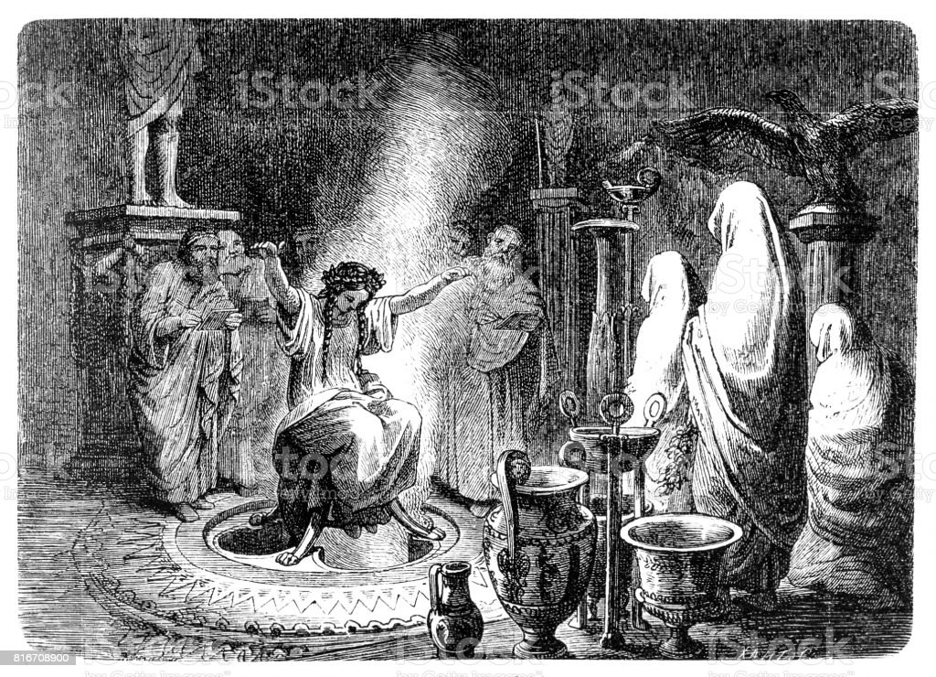 The Pythia foretells the Oracle of Delphi vector art illustration