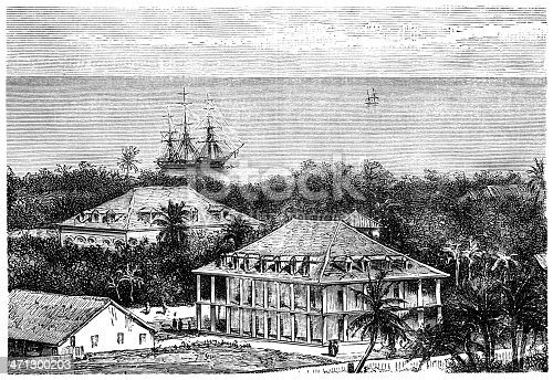 19th century engraving of the Queen's Palace in Tahiti. Illustration from
