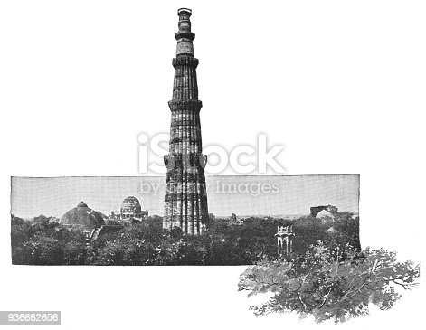 istock The Qutub Minar in Delhi, India - British Era 936662656