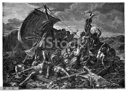The Raft of the Medusa by Jean-Louis Andre Theodore Gericault (circa 19th century). Vintage etching circa late 19th century.