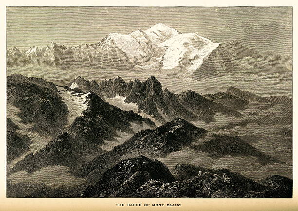 illustrazioni stock, clip art, cartoni animati e icone di tendenza di la gamma di mont blanc, alte alpi legno antico (scritta) - monte bianco